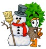 Cartoon Tree Character With Snowman clipart