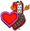 Cartoon Book Character With a Heart Shaped Box of  Chocolates clipart