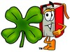 Cartoon Book Character Beside Four Leaf Clover - Saint Patrick