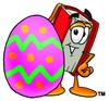 Cartoon Book Character Beside a Painted Easter Egg clipart