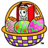 Cartoon Book Character With an Easter Basket Full of Eggs clipart