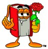 Cartoon Book Character Holding a Red Rose clipart