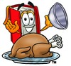 Cartoon Book Character With a Cooked Thanksgiving Turkey clipart