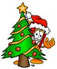 Cartoon Book Character With Christmas Tree clipart