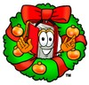 Cartoon Book Character With a Christmas Wreath clipart