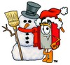 Cartoon Book Character Beside Snowman clipart