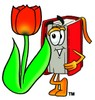 Cartoon Book Character Beside a Spring Tulip clipart