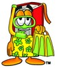 Cartoon Book Character Wearing Snorkel Gear clipart