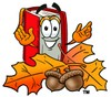 Cartoon Book Character With Fall Colored Leaves and Acorn Nuts clipart
