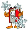 Cartoon Book Character With Snowflakes clipart