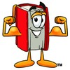 Cartoon Book Character Flexing Muscles clipart