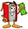 Cartoon Book Character With Money clipart