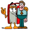 Cartoon Book Character Standing With a Business Man clipart