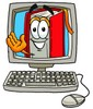 Cartoon Book Character in a Computer Screen clipart