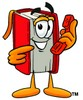 Cartoon Book Character Holding a Telephone clipart