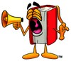 Cartoon Book Character Shouting Through a Megaphone clipart