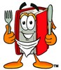 Cartoon Book Character Holding Silverware and Wearing a Bib clipart