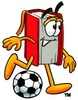 Cartoon Book Character Playing a Game of Soccer clipart