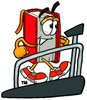 Cartoon Book Character Running On a Treadmill clipart