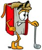 Cartoon Book Character Golfing clipart