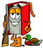 Stock Clipart Image of a Cartoon Book Character Holding a Rifle Beside a Duck clipart