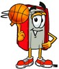 Cartoon Book Character Spinning a Basketball clipart
