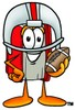 Cartoon Book Character Wearing Football Helmet and Holding a Football clipart