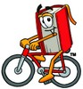 Cartoon Book Character Riding a Bicycle clipart