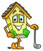 Cartoon House Character With a Golf Club clipart