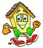 Cartoon House Character Joggin clipart