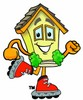 Cartoon House Character Roller Blading clipart