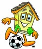 Cartoon House Character Playing Soccer Game clipart