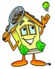 Cartoon House Character Serving a Tennis Ball clipart