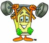 Cartoon House Character Lifting Weights clipart