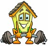 Cartoon House Character Weightlifting clipart