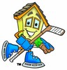 Cartoon House Character Hockey Player clipart