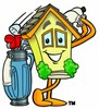 Cartoon House Character With Golf Gear clipart