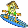 Cartoon House Character Surfing On a Surfboard clipart