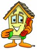 Cartoon House Character On a Phone clipart