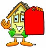 Cartoon House Character Holding a Blank Price Tag clipart