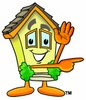 Cartoon House Character Pointing To The Side clipart
