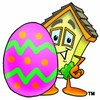 Cartoon House Character Standing Beside an Easter Egg clipart