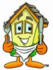 Cartoon House Character With a Fork, Knife and Bib clipart
