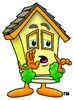 Cartoon House Character Whispering clipart