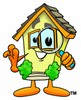 Cartoon House Character Looking Through a Magnifying Glass clipart