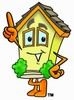 Cartoon House Character Pointing Up clipart