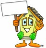 Cartoon House Character Holding a Blank Sign clipart