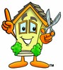 Cartoon House Character Holding Scissors and Pointing Up clipart