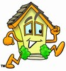 Running Cartoon House Character clipart