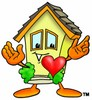 Cartoon House Character With a Heart clipart